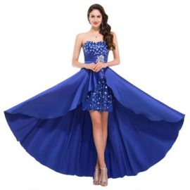 Bonnie clothing Women s Strapless Prom Dress High Low Sequins Beaded  at Amazon