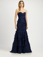 Bonnie's navy blue gown at Saks at Saks Fifth Avenue