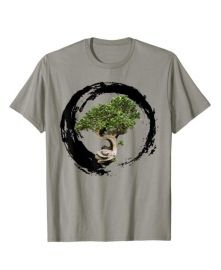 Bonsai Tree Enso Circle Calligraphy Zen T-Shirt at Amazon