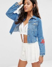 Boohoo Star Print Denim Jacket at asos com at Asos