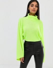 Boohoo roll neck wide sleeve cropped sweater in neon green   ASOS at Asos