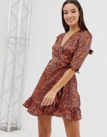 Boohoo satin ruffle wrap dress in leopard   ASOS at Asos