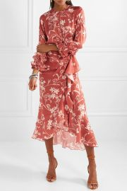Botanical Gardens ruffled wrap-effect silk-satin twill midi dress at Net A Porter