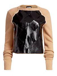 Bottega Veneta - Brushed Wool  amp  Basketwoven Leather Sweater at Saks Fifth Avenue