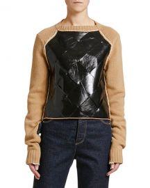 Bottega Veneta Leather-Front Wool Sweater at Neiman Marcus