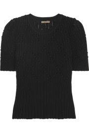 Bottega Veneta Metallic ribbed wool-blend sweater at Net A Porter