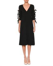 Bottega Veneta V-Neck Bow-Sleeve A-Line Crepe Dress at Neiman Marcus