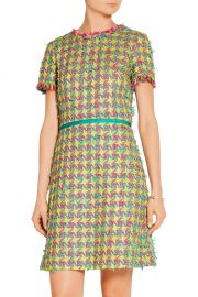 Boutique Moschino Fringed Boucle-Tweed Mini Dress at The Outnet