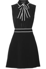Boutique Moschino  Pussy-bow silk-chiffon and stretch-crepe mini dress at Net A Porter