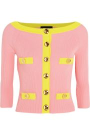 Boutique Moschino  Two-tone ribbed cotton cardigan at Net A Porter