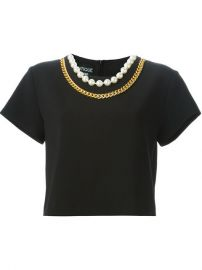 Boutique Moschino Chain And Faux Pearl Trim Top - at Farfetch