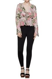 Bow Front Floral Print Woven Blouse at Nordstrom Rack