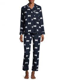 Bow Tie-print Pajama Set at Neiman Marcus