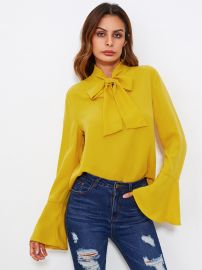 Bow Tied Neck Bell Cuff Curved Hem Blouse at Shein