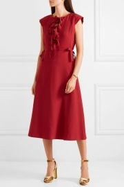Bow-detailed crepe midi dress at Net A Porter