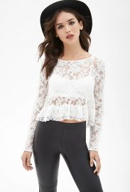 Boxy Lace Ruffle Top in White at Forever 21