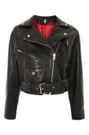 Boxy Leather biker Jacket at Topshop