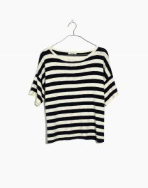 Boxy Sweater Tee in Kelley Stripe at Madewell