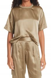 Boy Cut Silk Charmeuse T-Shirt at Nordstrom
