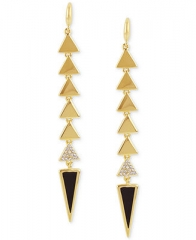 Boy Meets Girl x Roman Luxe 14k Gold-Plated Crystal Pave Black Triangle Linear Earrings - Fashion Jewelry - Jewelry and Watches - Macys at Macys