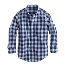 Boys Secret Wash shirt in dark cove gingham at J. Crew