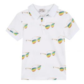 Boys White Cotton Polo Shirt at Childrens Outlet