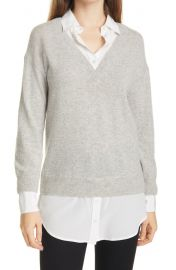 Brami Mixed Media Layered Look Wool & Cashmere Sweater at Nordstrom
