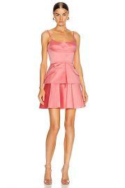 Brandon Maxwell Bustier Peplum Mini Dress in Flamingo   FWRD at Forward
