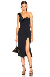 Brandon Maxwell One Shoulder Cocktail Dress in Navy   FWRD at Forward