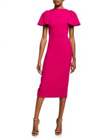 Brandon Maxwell Ruffle-Sleeve Wool Midi Cocktail Dress at Neiman Marcus