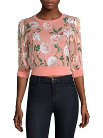 Brandy Floral Puff-Sleeve Crop Sweater at Saks Fifth Avenue