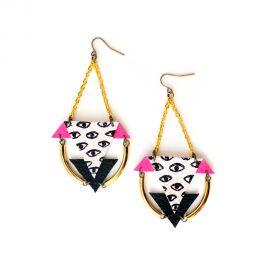 Brass Geometric Eye Earrings at Boo + Boo Factory