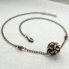 Brass and Garnet Necklace at Etsy