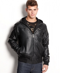 Brave Soul Jacket Hooded Faux Leather Bomber - Coats and Jackets - Men - Macys at Macys