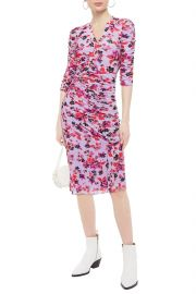 Brendon Ruched Floral-Print Stretch-Mesh Dress by Diane von Furstenberg at The Outnet
