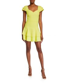 Brinda Double Ruffle Fit Flare Dress at Neiman Marcus