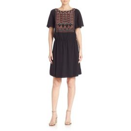 Bristol Boho Silk Short Sleeve Embroidered Dress by Tory Burch at Nordstrom