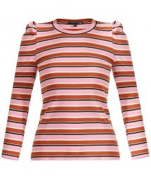 Britney Striped Puff-Sleeve Top at Veronica Beard