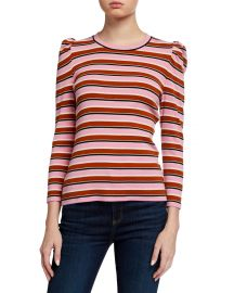 Britney Striped Puff-Sleeve Top by Veronica Beard at Neiman Marcus