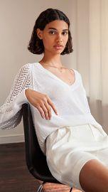 Brochu Walker Ami Pointelle Lace V Sweater at Shopbop