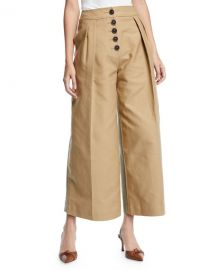 Brodie Pleated Cropped Wide-Leg Trousers at Bergdorf Goodman