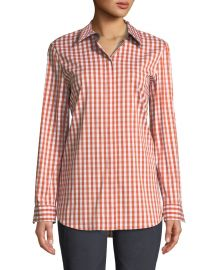 Brody Long-Sleeve Gingham Blouse at Last Call