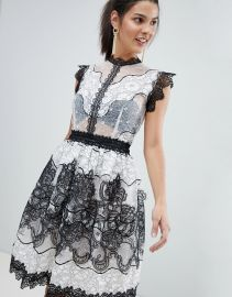 Bronx and Banco Monochrome Lace Mini Dress at Asos
