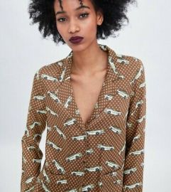 Brown Car Print Pajama Style Shirt by Zara at Zara