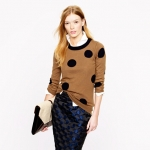 Brown polka dot sweater at J crew at J. Crew