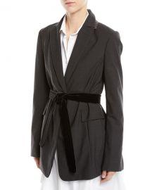 Brunello Cucinelli Long Lightweight Wool Blazer Jacket with Velvet Belt at Neiman Marcus