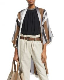 Brunello Cucinelli Monili-Beaded Belted Striped-Silk Kimono Cardigan at Neiman Marcus