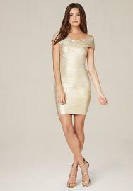 Brushed foil bandage dress at Bebe