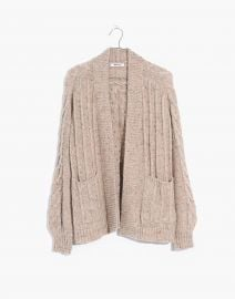 Bubble-Sleeve Cableknit Cardigan Sweater by Madewell at Madewell