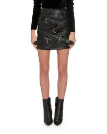 Buckle-Front Faux Leather Mini Skirt by Redemption at Neiman Marcus